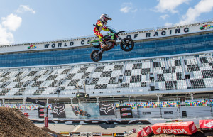 Cobra Moto's Luke Fauser high above the Daytona International Speedway i.._