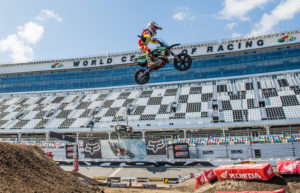 Cobra Moto's Luke Fauser high above the Daytona International Speedway i...
